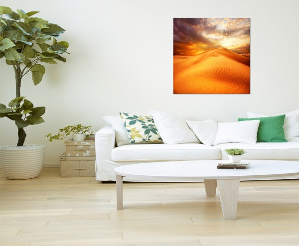 80x80cm Wüste Düne Sand Hitze Wolken
