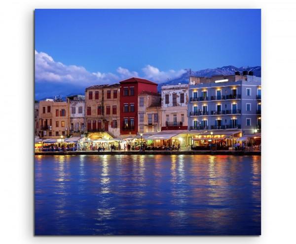 Landschaftsfotografie – Hafen auf Kreta bei Nacht auf Leinwand exklusives Wandbild moderne Fotograf