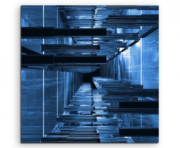 Architekturfotografie – Blaue Streben auf Leinwand