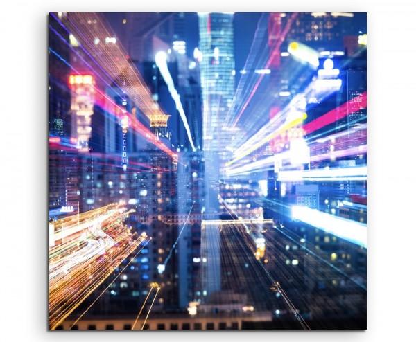 Urbane Fotografie – Wolkenkratzer mit bunten Nachtlichtern auf Leinwand exklusives Wandbild moderne