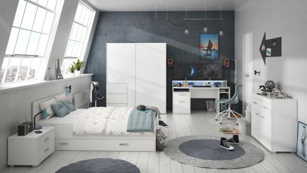 """Jugendzimmer Gaming Zimmer Tezaur """"Snow"""" von Forte 6 teilig mit großem Gaming- Schreibtisch, 140er Bett mit Bettschubkasten, Schwebetürenschrank, Kommode und Nachttisch"""