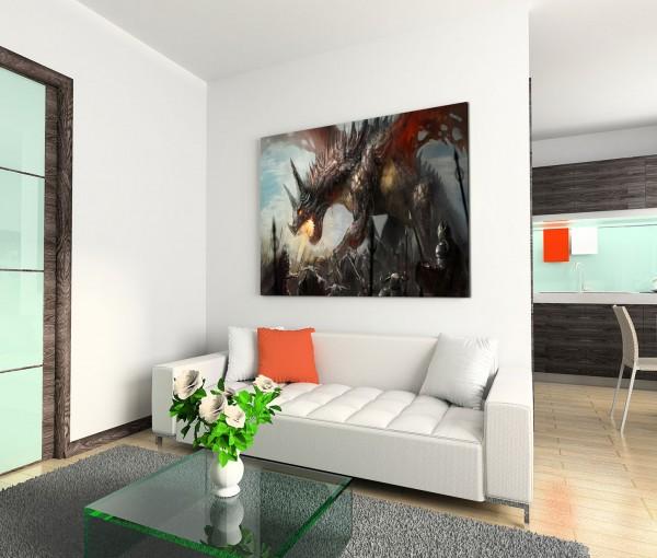 120x80cm Wandbild Ritter Drachen Kampf Fantasy