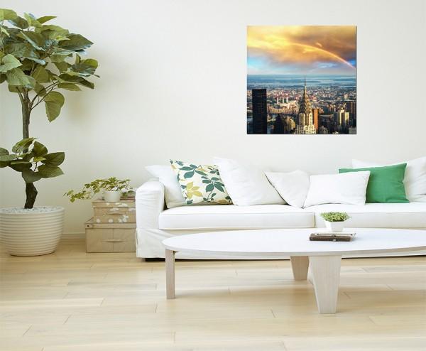 120x80cm New York Skyline Regenbogen Sonne