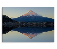 120x80cm Wandbild Fuji Berg Schnee See Abendlicht Spiegelung