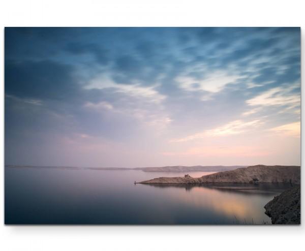 Küste am Meer bei Sonnenaufgang - Leinwandbild