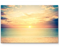 Strand im Sonnenuntergang – Vintage - Leinwandbild