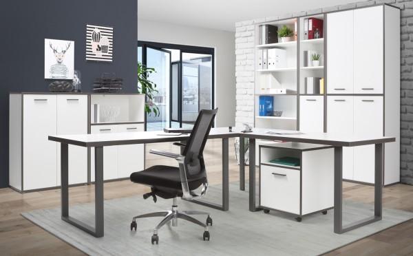 Büromöbel Keflavik 7 Teile von Forte in Weiß und Wolfram Grau mit Eckschreibtisch, Rollcontainer, Aktenschränken und Aktenregalen