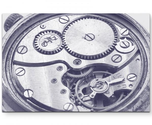 Uhrwerk in Silbertönen - Leinwandbild