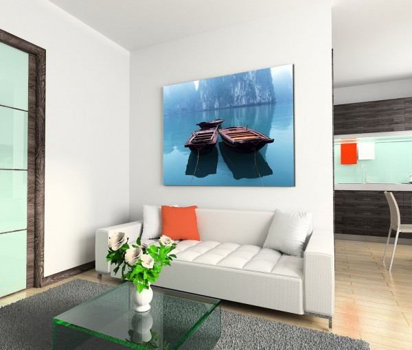 120x80cm Wandbild Vietnam Halong Bay Meer Holzboote