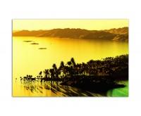 120x80cm Bucht Meer Palmen Berge Abendlicht