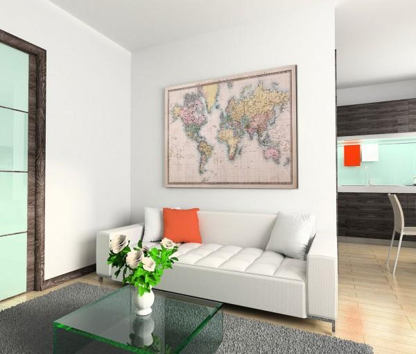 120x80cm Wandbild Weltkarte handgemalt von 1860