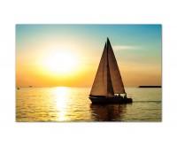 120x80cm Meer Segelboot Yacht Sonnenuntergang