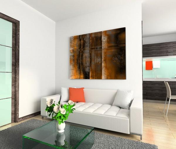 120x80cm Wandbild Kunst abstrakt braun orange grau