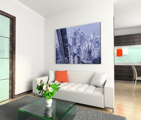 120x80cm Wandbild Megastadt modern futuristisch Wolkenkratzer Lichter