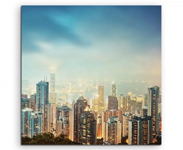 Urbane Fotografie – Viktoria Peek Hongkong Skyline auf Leinwand