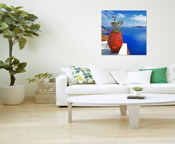 80x80cm Santorini Blumentopf Pflanze Meerblick