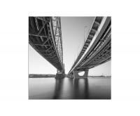 80x80cm Brücke Wasser schwarz weiß