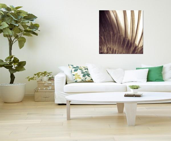 80x80cm Federn grau abstrakt makro