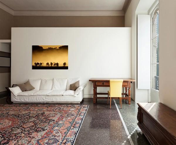 120x80cm Gnus Dunst Sonnenuntergang Kalahari