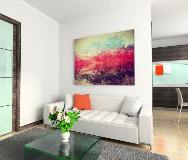 120x80cm Wandbild Hintergrund abstrakt grunge rot blau schwarz creme