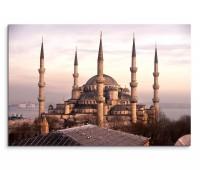 120x80cm Wandbild Istanbul Blaue Moschee Morgenlicht Nebel