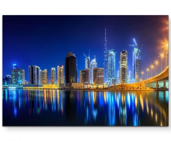 Skyline Dubai bei Nacht - Leinwandbild