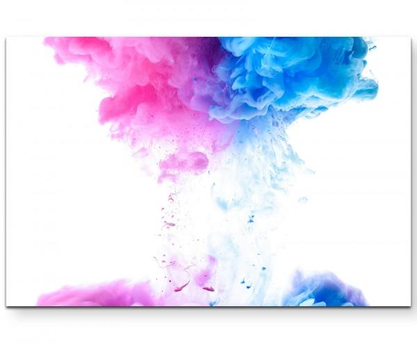 Farbenwolken im Wasser – blau und pink - Leinwandbild