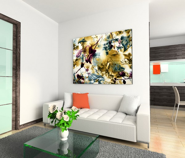 120x80cm Wandbild Blumen Blüten Blätter abstrakt