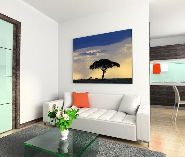120x80cm Wandbild Afrika Savanne Baum Abenddämmerung
