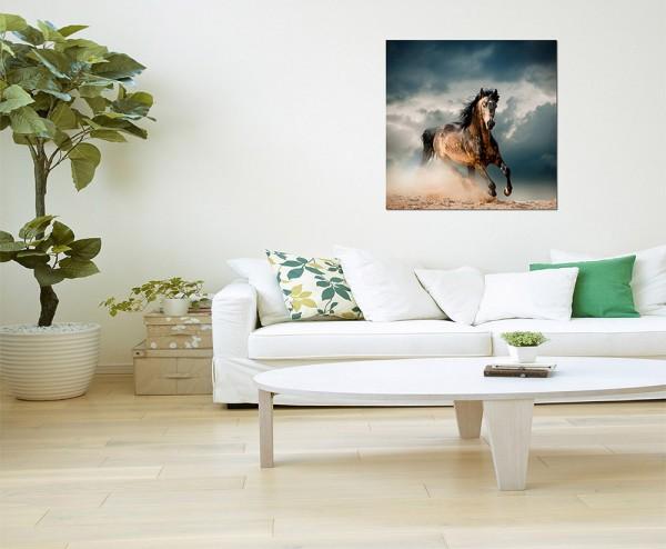 80x80cm Pferd Sand Dunst Wolkenhimmel