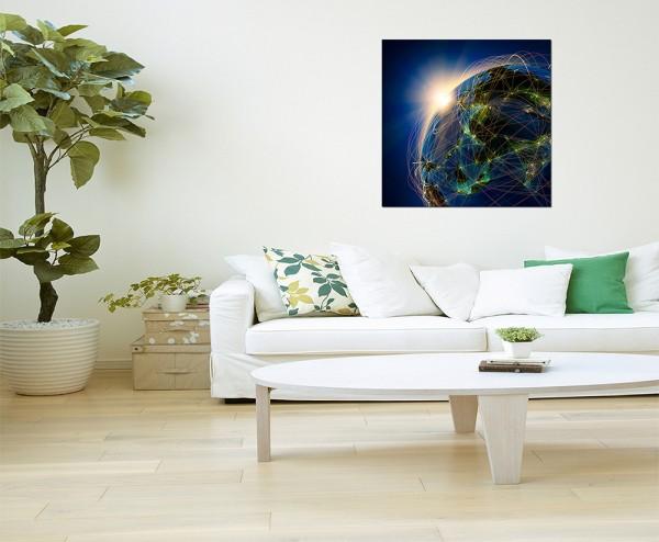 80x80cm Erde Planet Netzwerk Weltall Sonne