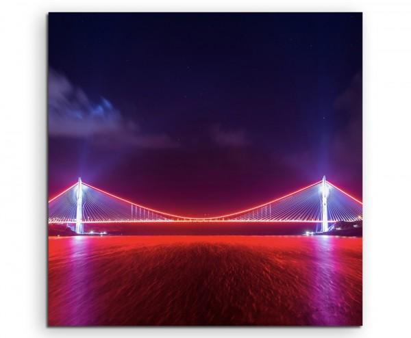 Urbane Fotografie – Rot beleuchtete Yavuz-Sultan-Selim-Brücke, Türkei auf Leinwand exklusives Wandbi