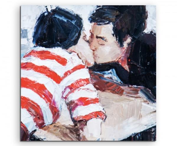 Ölgemälde – Küssendes Paar auf Leinwand