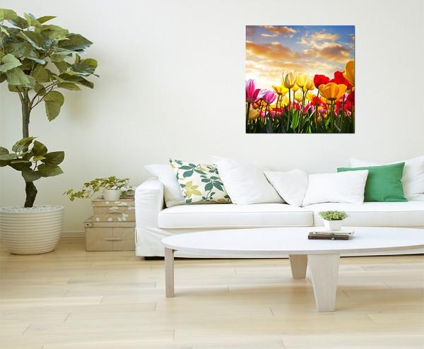 80x80cm Tulpen Landschaft Sonnenuntergang