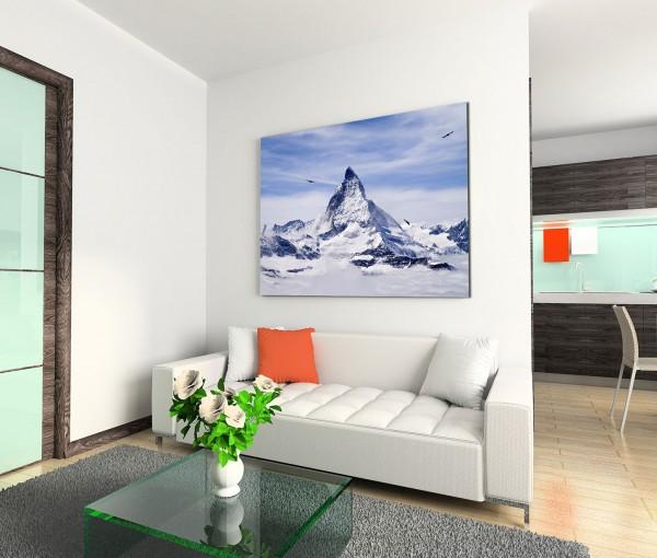 120x80cm Wandbild Schweiz Alpen Berggipfel Schnee Wolkenschleier