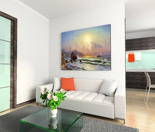 120x80cm Wandbild Meer Strand Wellen Segelboot Sonnenuntergang