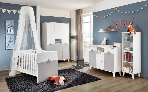 Babyzimmer Rocky in Weiß mit Light Grey und Sternchenapplikation 5 teiliges Megaset +++ von möbel-direkt+++ schnell und günstig