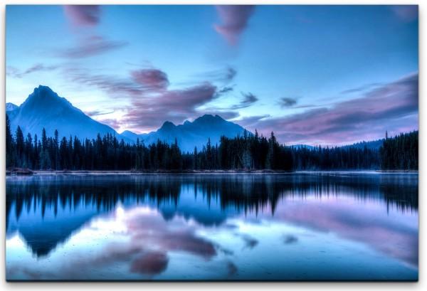 Sonnenaufgang mit Seen und Bergen Wandbild in verschiedenen Größen