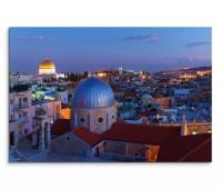 120x80cm Wandbild Israel Jerusalem Tempel Nacht Lichter
