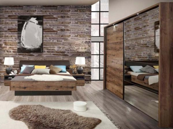 Schlafzimmer Jacky in Schlammeiche von Forte Sparset mit Schwebetürenschrank und Bettanlage