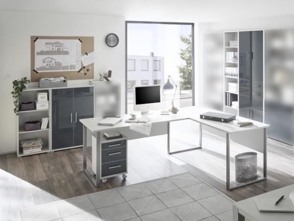 Büromöbel Office Luxo in Lichtgrau mit lackierten Graphit Glasfronten 6 teiliges Superset mit Winkel
