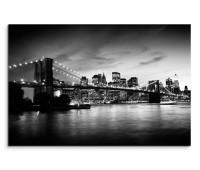 120x80cm Wandbild Manhattan Brooklyn Bridge Skyline Sonnenuntergang