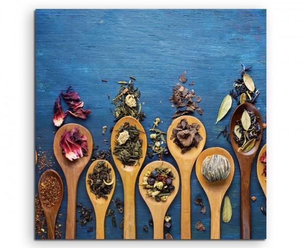 Food-Fotografie – Tee auf Holzlöffeln auf Leinwand