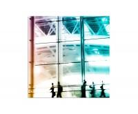 80x80cm Menschen Gebäude beschäftigt abstrakt