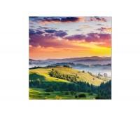 80x80cm Landschaft Berge Wiese Sonnenuntergang