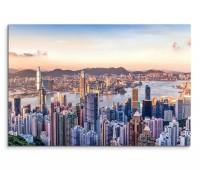 120x80cm Wandbild Hongkong Victoria Harbor Wolkenkratzer Wasser