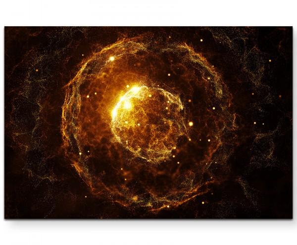 Abstraktes Bild – orangefarbene Partikel vor schwarzem Hintergrund - Leinwandbild