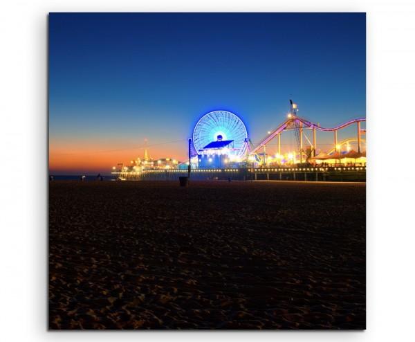 Landschaftsfotografie – Riesenrad bei Nacht, Santa Monica, LA, USA auf Leinwand