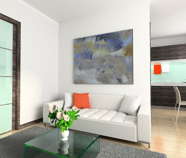 120x80cm Wandbild Malerei Acryl Hintergrund abstrakt blau grau beige