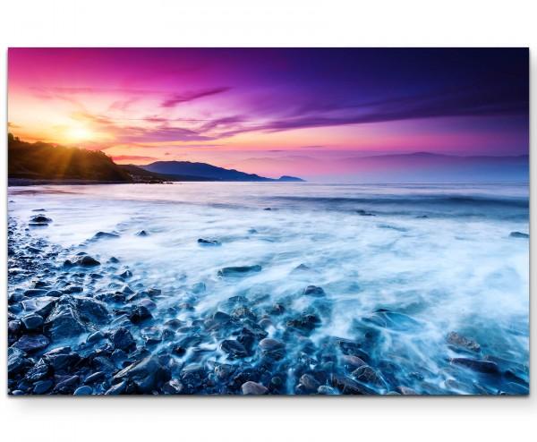 Majestätischer Sonnenuntergang mit pink violettem Himmel - Leinwandbild